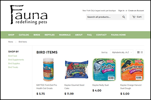 Fauna's Online Store